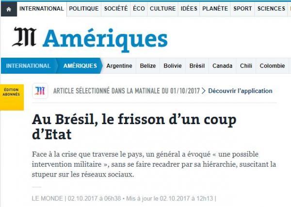'Le Monde': Brasil vive clima de suspense com ameaça de novo golpe de Estado